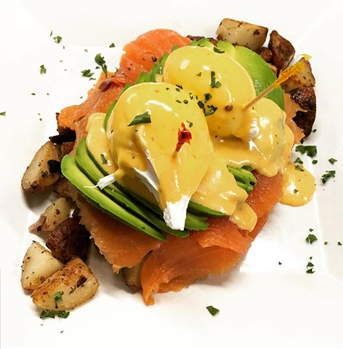 California Benedict with added Smoked Salmon